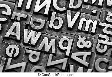 vieux, lettres, plomb