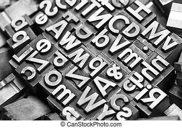 vieux, lettres, typo, plomb