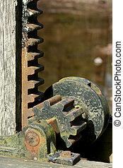 vieux, métal rouillé, engrenages