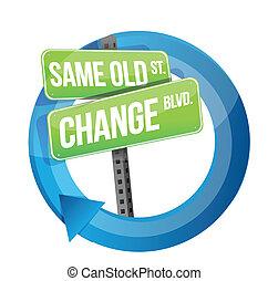 vieux, même, signe, changement, route, cycle