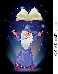 vieux, magicien, au-dessous, livre, flotter, vide