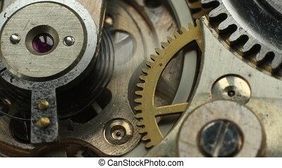 vieux, montre, macr, mécanisme, mécanique