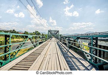 vieux, nord, fer, thaïlande, pont