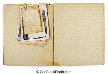 vieux, ouvert, copybook, isolé, photos, agenda, vide, blanc, ou, tas