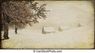 vieux, paysage hiver, ferme, vendange