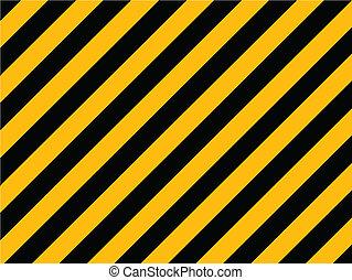 vieux, peint, -, raies, jaune, diagonal, mur, vecteur, noir, danger, brique