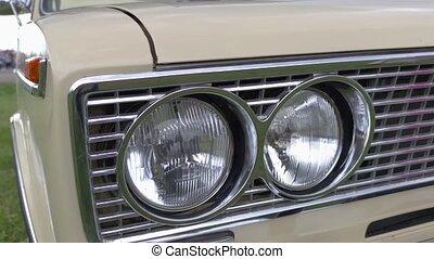 vieux, phares, voiture