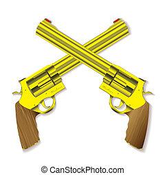vieux, pistolet, or