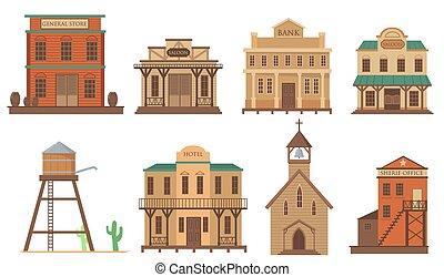 vieux, plat, maisons, article, variété, ensemble, ville ouest