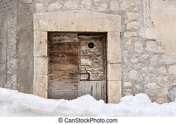 vieux, porte, neige