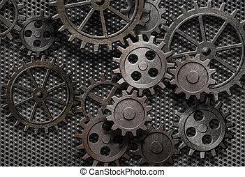 vieux, résumé, machine, rouillé, parties, engrenages