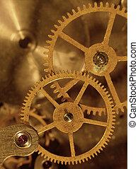 vieux, résumé, mechanism., techno, closeup, fond, vue