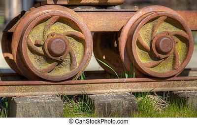 vieux, roues, voiture rail