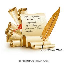 vieux, texte, encre, papier, manuscrits, écriture, plume