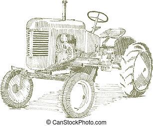 vieux, tracteur