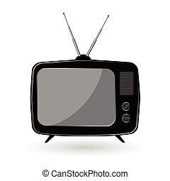 vieux, tv, illustration, couleur, vecteur, noir