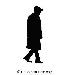 vieux, vecteur, silhouette, homme