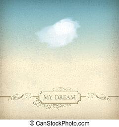 vieux, vendange, cadre, ciel, papier, fond, nuage