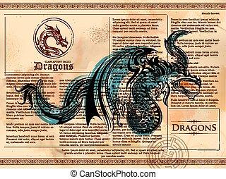 vieux, vendange, dragon, livre, furieux, dessin, page