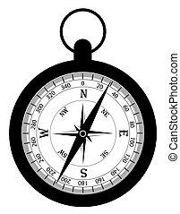 vieux, vendange, illustration, vecteur, retro, compas, stockage, icône