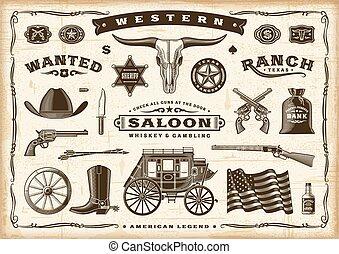 vieux, vendange, occidental, ensemble