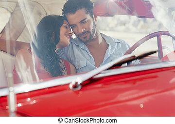 vieux, voiture, flirter, petite amie, rouges, petit ami