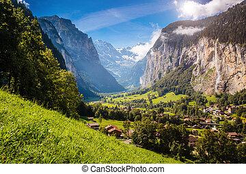 vif, lauterbrunnen, alpin, emplacement, suisse, endroit, alpes, village., valley., vue