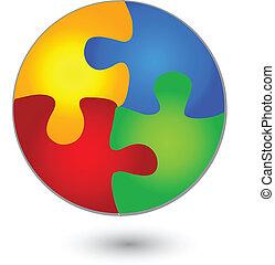 vif, puzzle, logo, cercle, couleurs