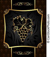 vigne, doré, cadre