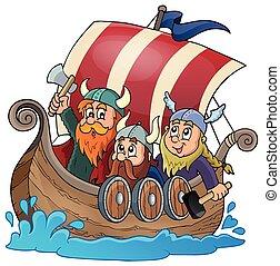 viking, 1, bateau, thème, image