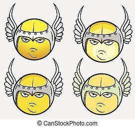 viking, ensemble, vecteur, ange, smiley