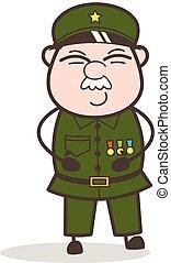 vilain, illustration, vecteur, sergent, sourire, dessin animé