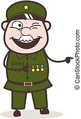 vilain, pointage, illustration, vecteur, doigt, dessin animé, sergent