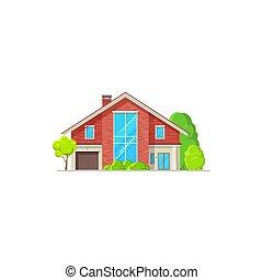 villa, chambre maison, bâtiment, petite maison, bungalow, icône