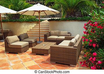 villa, patio