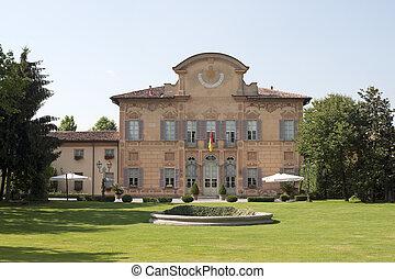 villa, siècle, italy), lombardie, -, 18ème, (bergamo, palazzo, cortenuova, (1760), colleoni, jardin