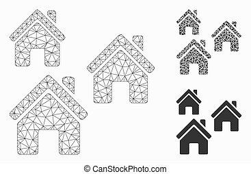 village, 2d, modèle, bâtiments, maille, icône, mosaïque, vecteur, triangle