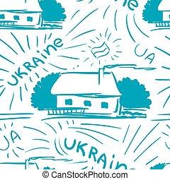 village, bleu, seamless, modèle, griffonnage, vecteur, maison