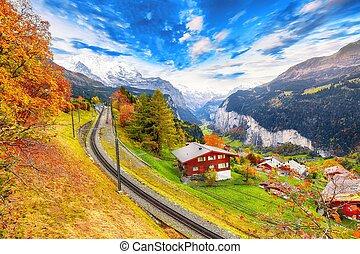village, fabuleux, vue, automne, pittoresque, wengen, alpin, lauterbrunnen, vallée