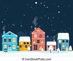 village., hiver, maison, paysage., noël, coloré