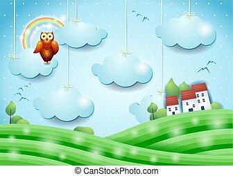 village, illustration, paysage, hibou, fantasme, vecteur, eps10