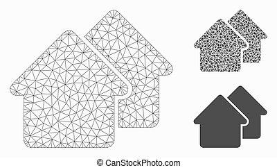 village, modèle, maille, icône, réseau, mosaïque, vecteur, triangle