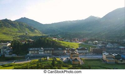 village, recours montagne, voyage, paysage