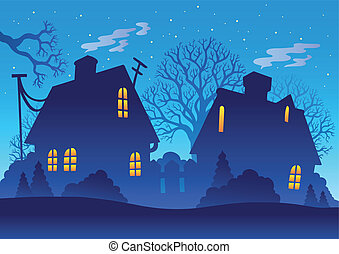 village, silhouette, nuit