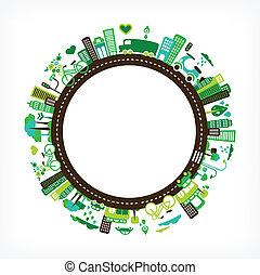 ville, écologie, -, environnement, vert, cercle