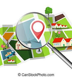 ville, épingle, carte, installation, rues, verre, vecteur, bâtiment., magnifing, gps, navigation, sur, rouges, design.