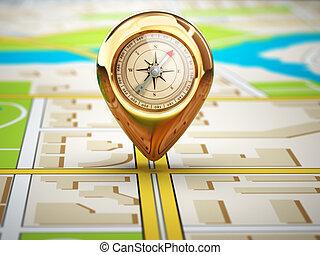 ville, épingle, concept., map., compas, navigation