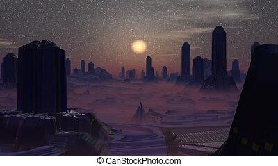 ville, étrangers, coucher soleil