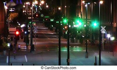 ville, (1025), trafic, vie nocturne, gens