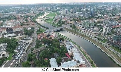 ville, aérien, 10, sur, rivière, vue